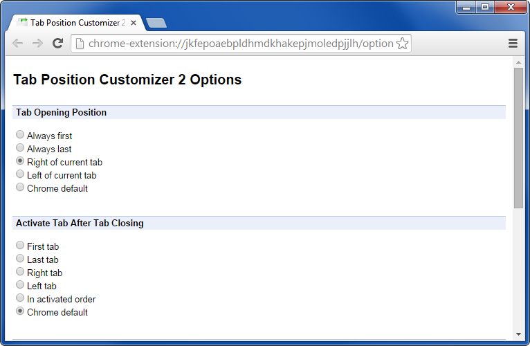 Tab Position Customizer 2 extension for Chrome